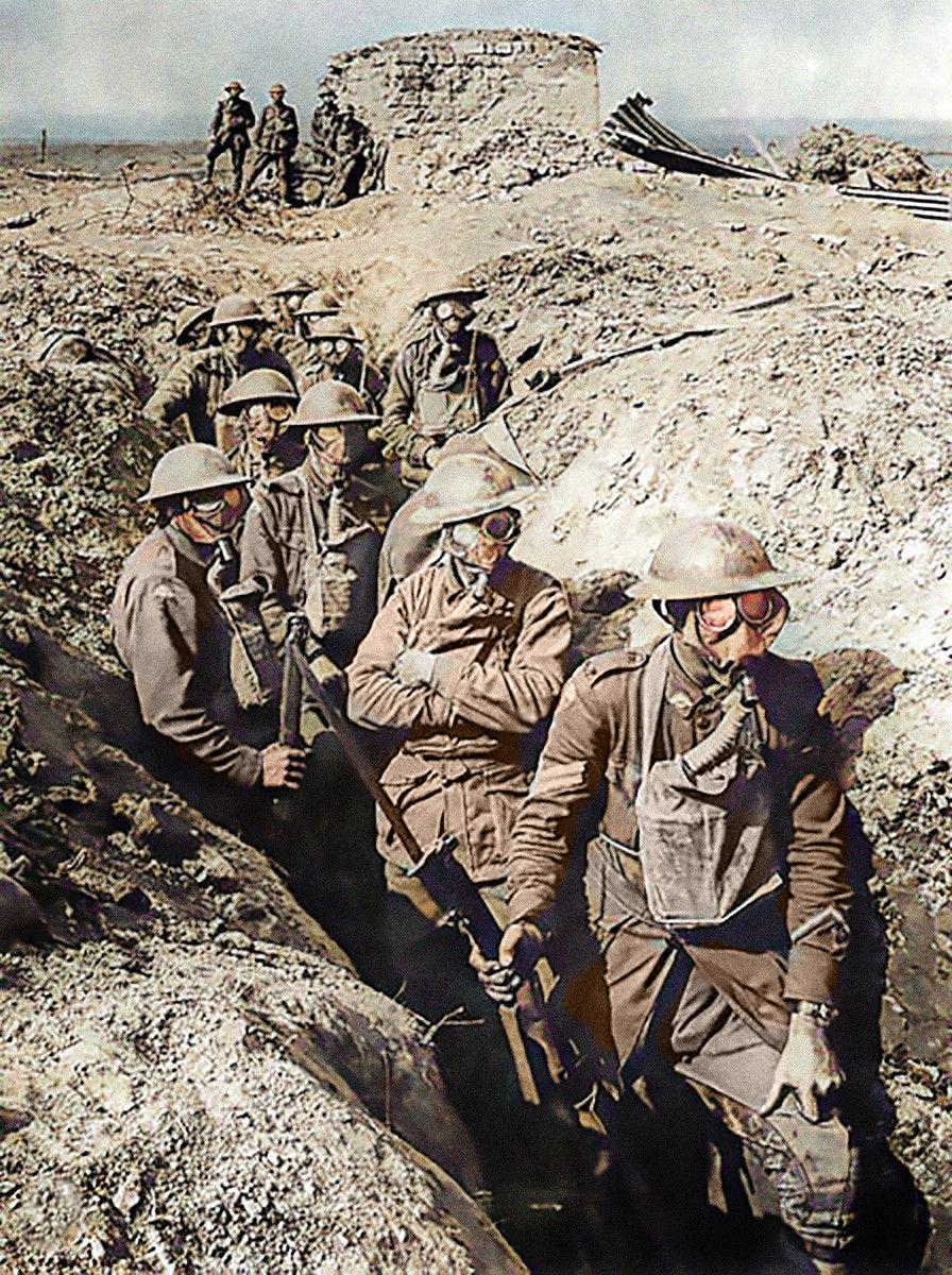 Australian troops wearing small box respirators