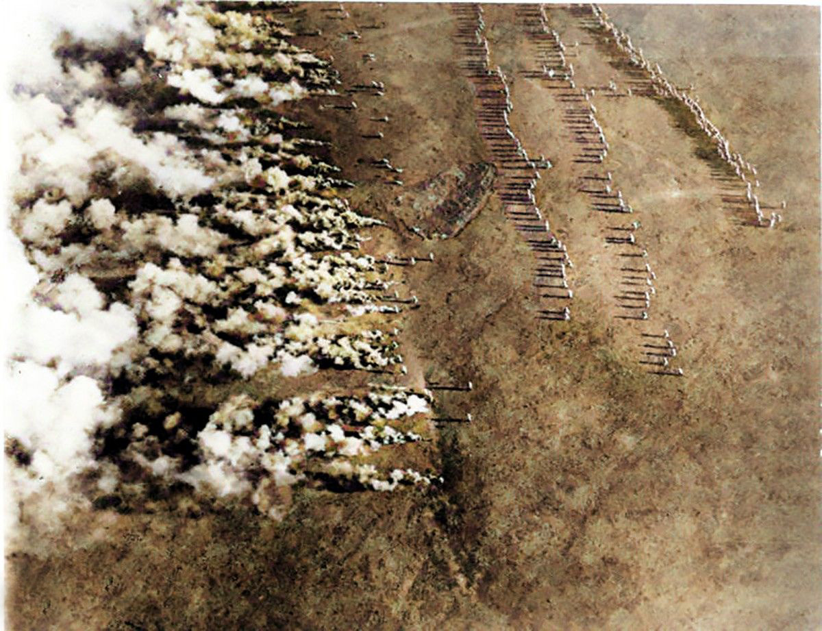 German gas attack during WWI on the Eastern Front, photographed from the air by a Russian airman. The image was titled: 'German Frightfulness from the Air'