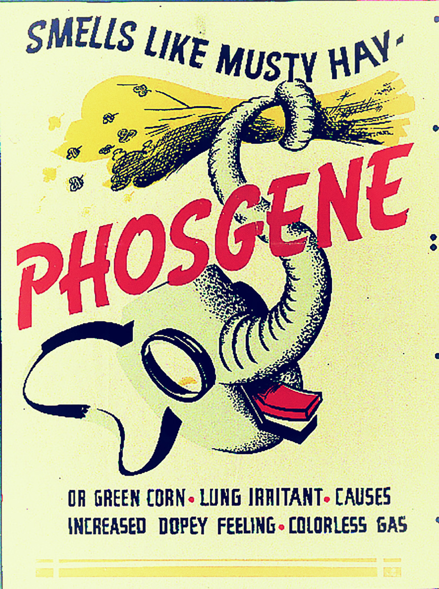 Poster designed to enable troops to identify an attack made using phosgene gas, issued during WWII