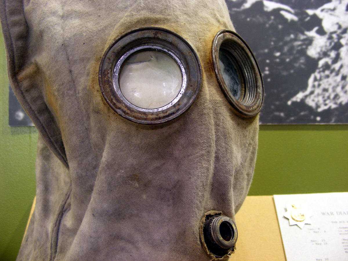 A PH helment, showing the eye pieces and the breathing vent