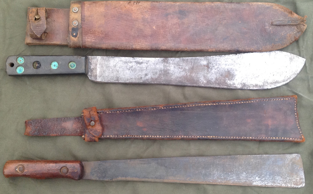 A variety of machetes and dhars were used to clear jungle vegetation