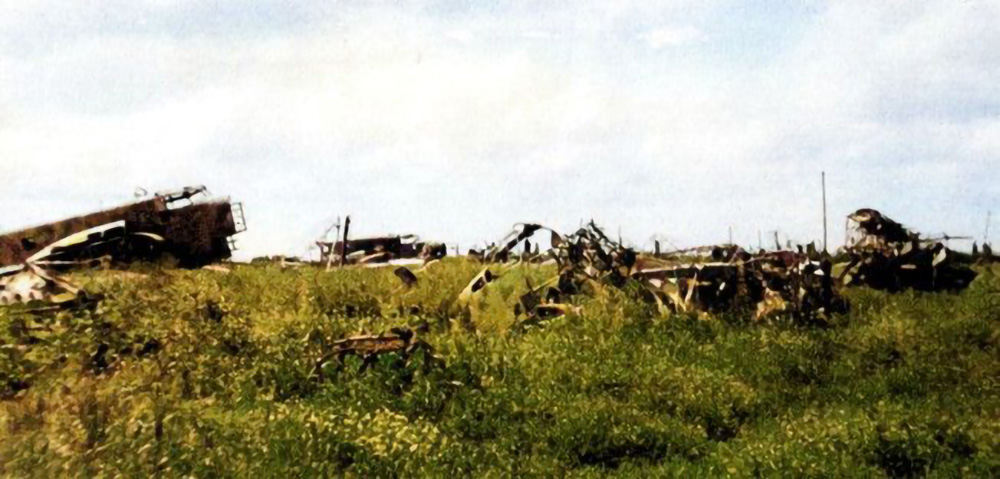 Wrecked Italian aircraft litter the airfield at Barce following the LRDG raid