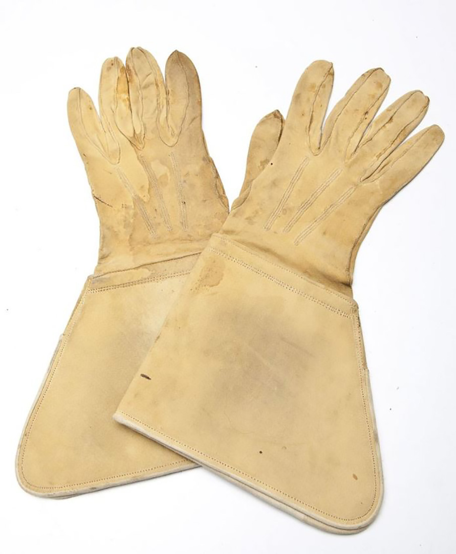 US Cavalry gauntlet gloves made from buff leather and dating from the Indian Wars