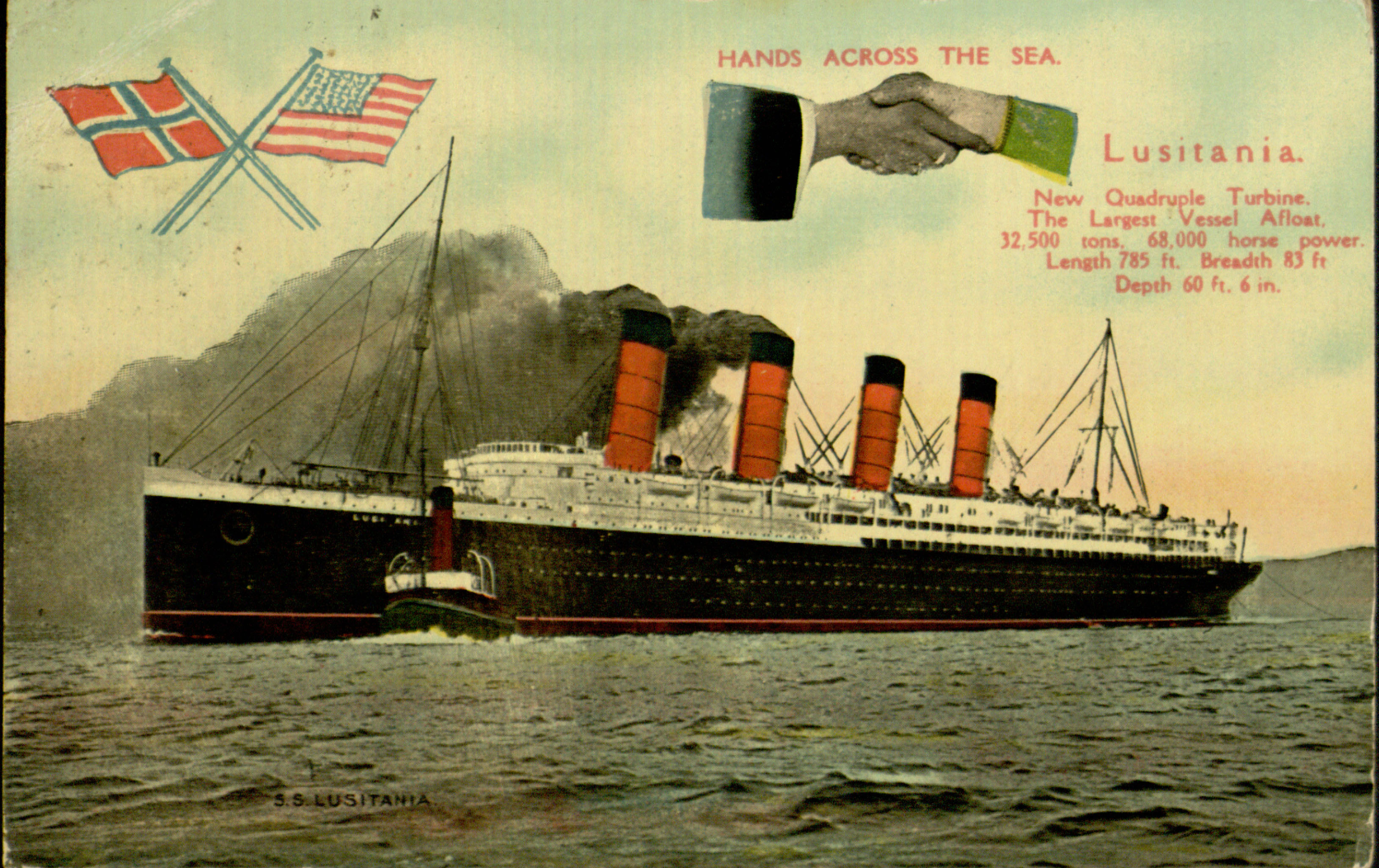 A postcard of the Lusitania