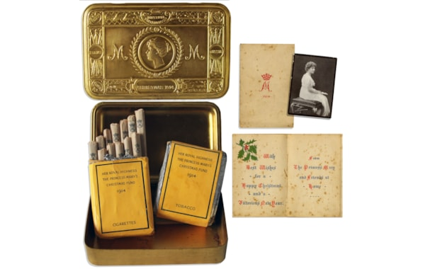 This box contains the specially printed yellow cigarette and tobacco packets, the picture of Mary and the Christmas card