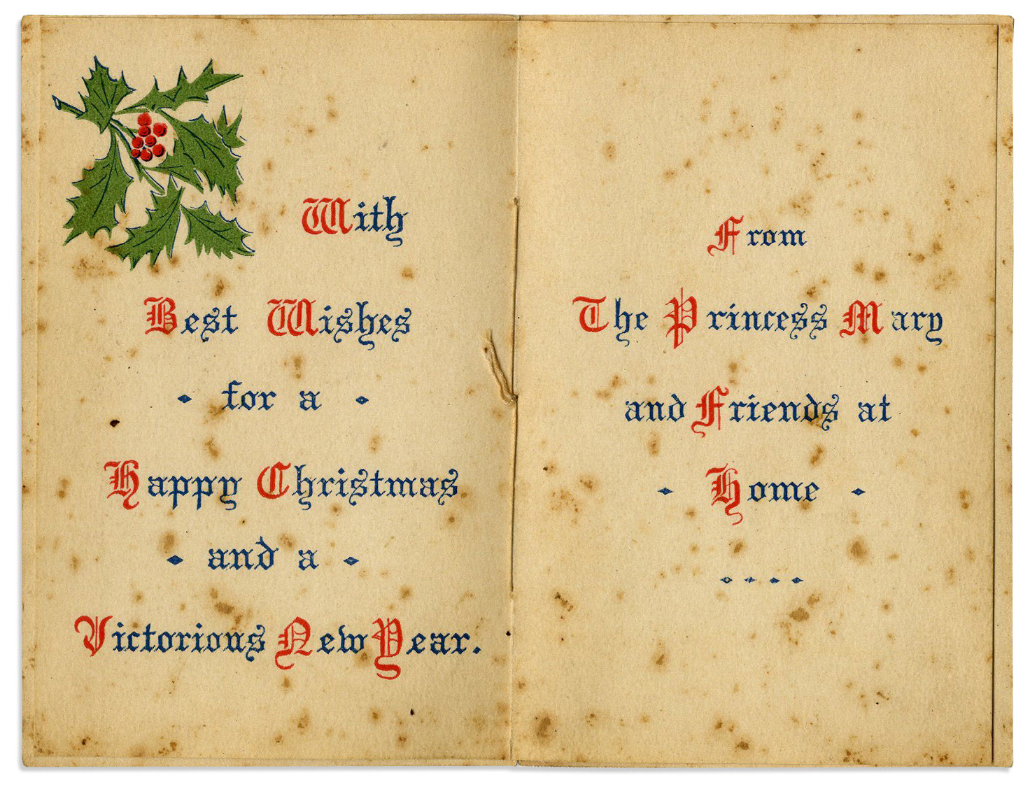 Princess Mary's Christmas card, showing the messages printed on the inside