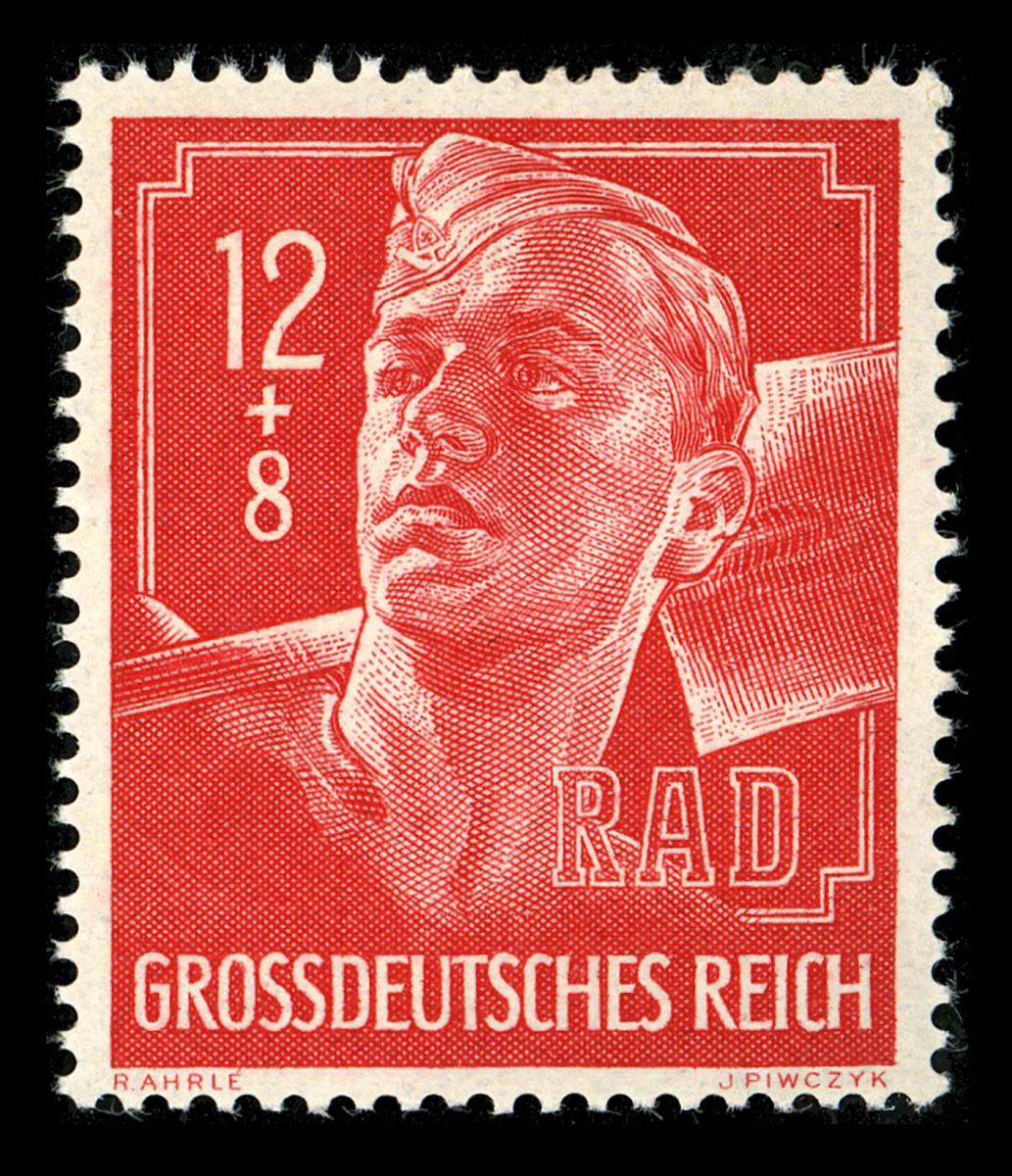 A semipostal from after 1944 commemorating the work of the German labour divisions, face value 12pf, surcharge 8pf