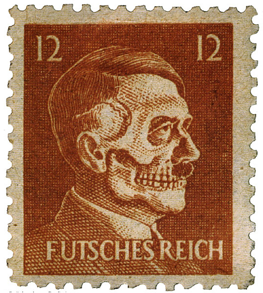 OSS stamp produced for Operation Cornflakes, showing Hitler as a Death's Head and with a subscript which translates as Ruined (or Lost) Empire