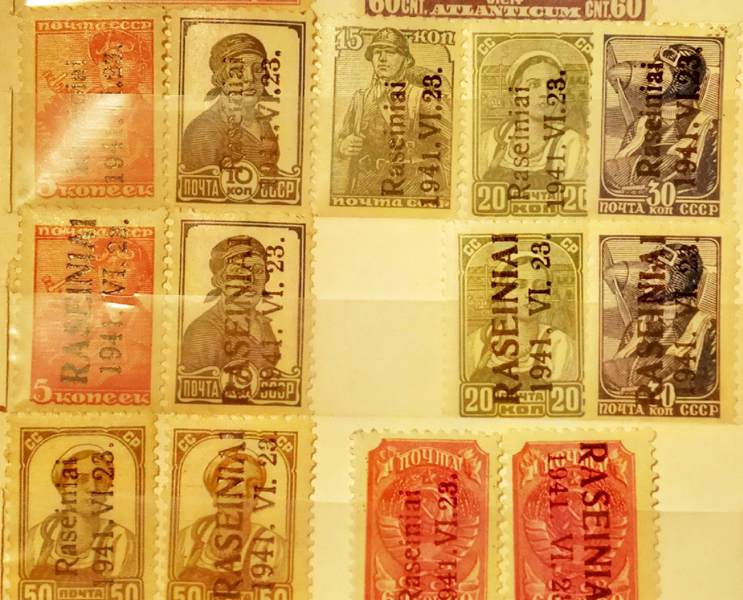 A set of stamps from the USSR overstamped for use by the DRP