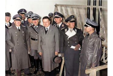 Karl Wilhelm Ohnesorge, pictured with members of the German military. Ohnesorge, who held no military rank, is in civilian dress