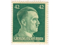 Stamp bearing an engraving of Hitler's right profile, face value 42 pf. This one bears the Grossdeutssches Reich subscript, showing it was produced after 1944