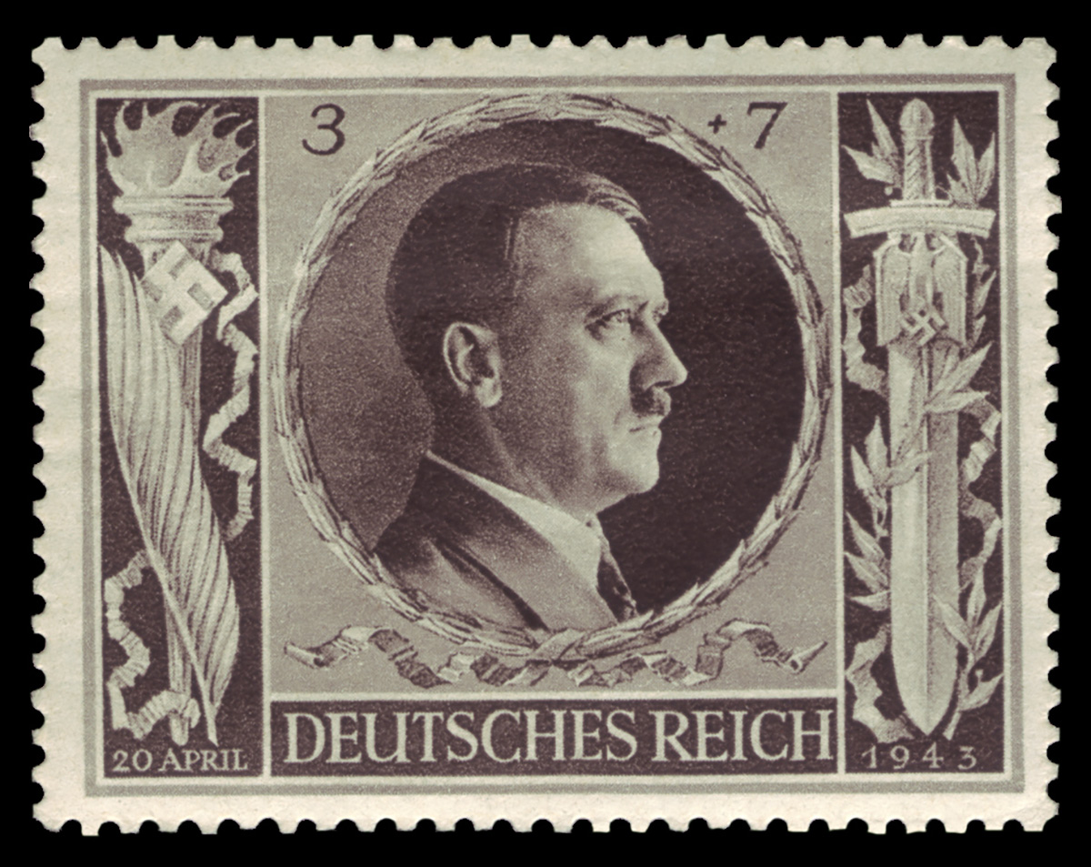 A semipostal engraved with Hitler's right profile, face value 3pf, with a surcharge of 7pf, this stamp dated '20 April', the 'DEUTSCHES REICH' subscript dating it before 1944