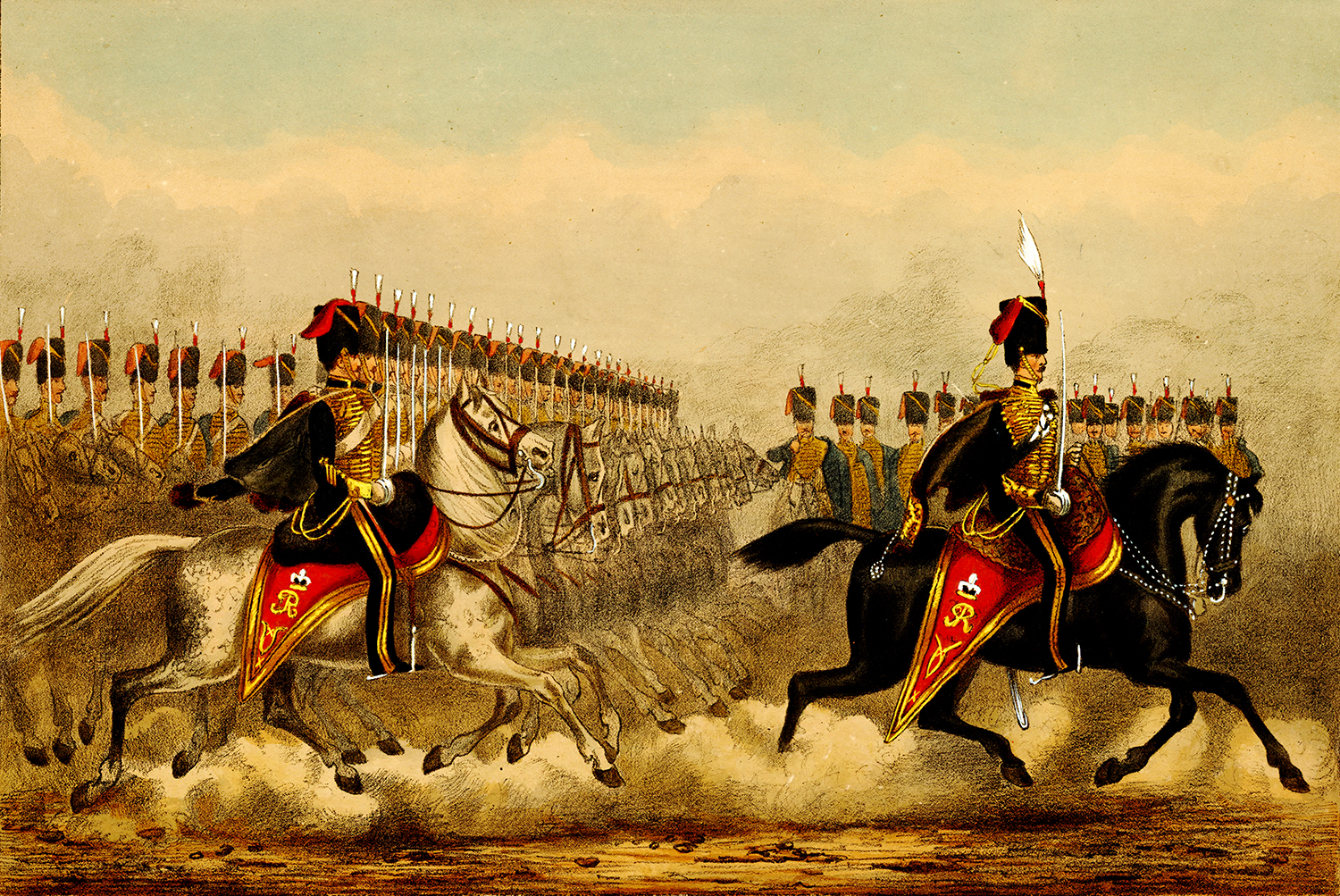 While the 10th Hussars were not part of the Light Brigade, this contemporary image shows Hussars parading with their Pattern 1821 Light Cavalry Swords drawn at the ready