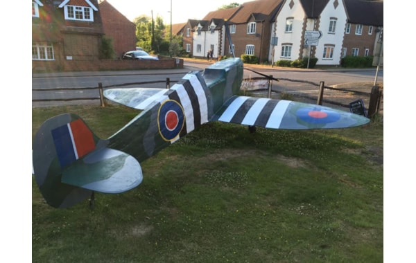 The completed replica Spitfire at the Selsey Arms