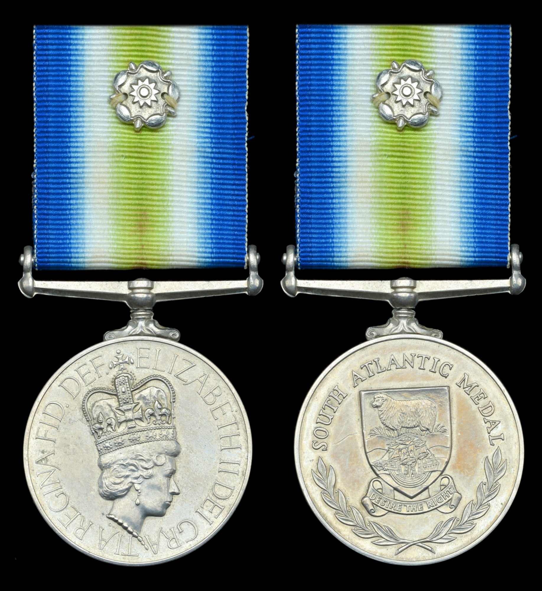 The South Atlantic Medal - obverse and reverse, also showing the white-metal rosette