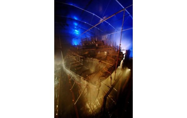 The Mary Rose within Dry Dock No. 3 at Portsmouth Historic Dockyard
