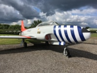 The repaint of Lockheed T-33A is nearing completion