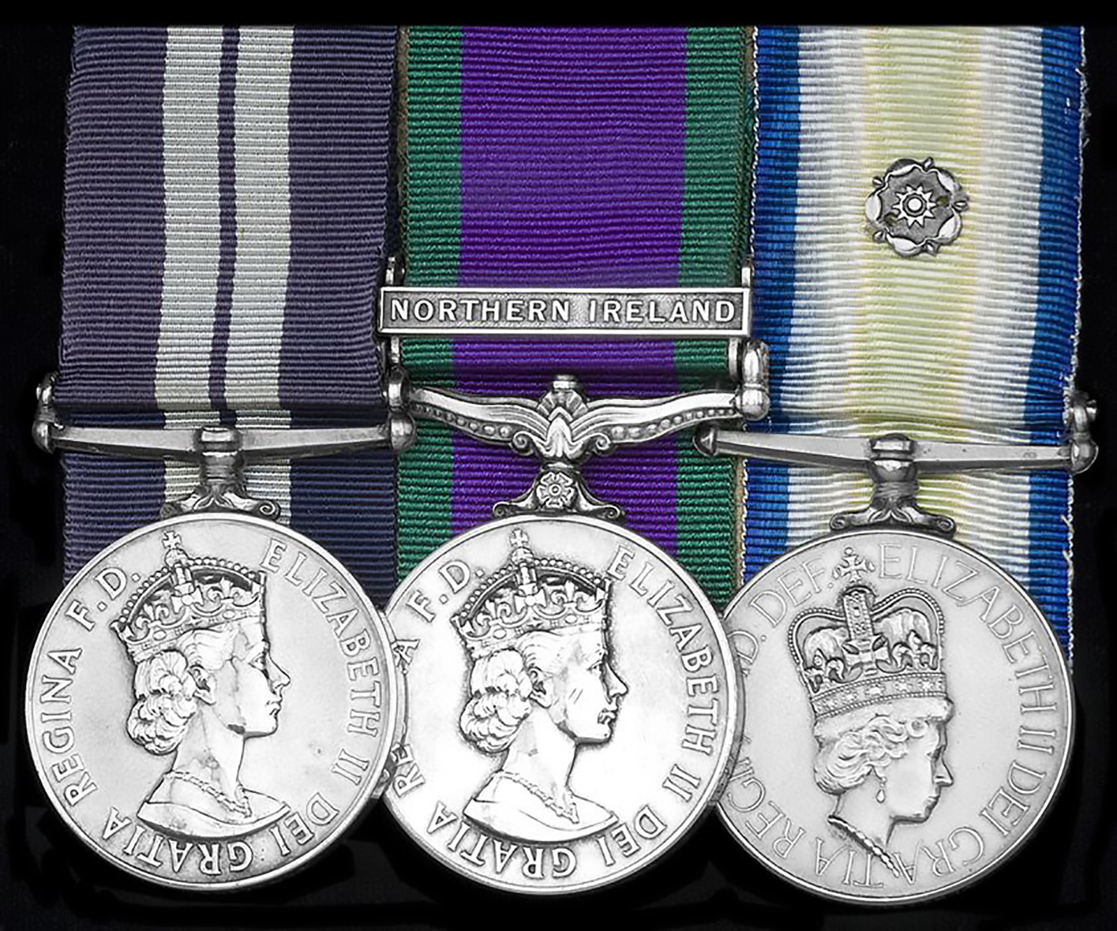 A rare naval award – a Distinguished Service Medal (left) for the Falklands. One of only 12 awarded for the campaign