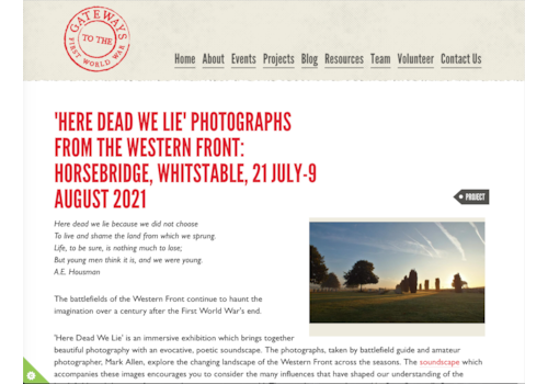 New exhibition called Here Dead We Lie