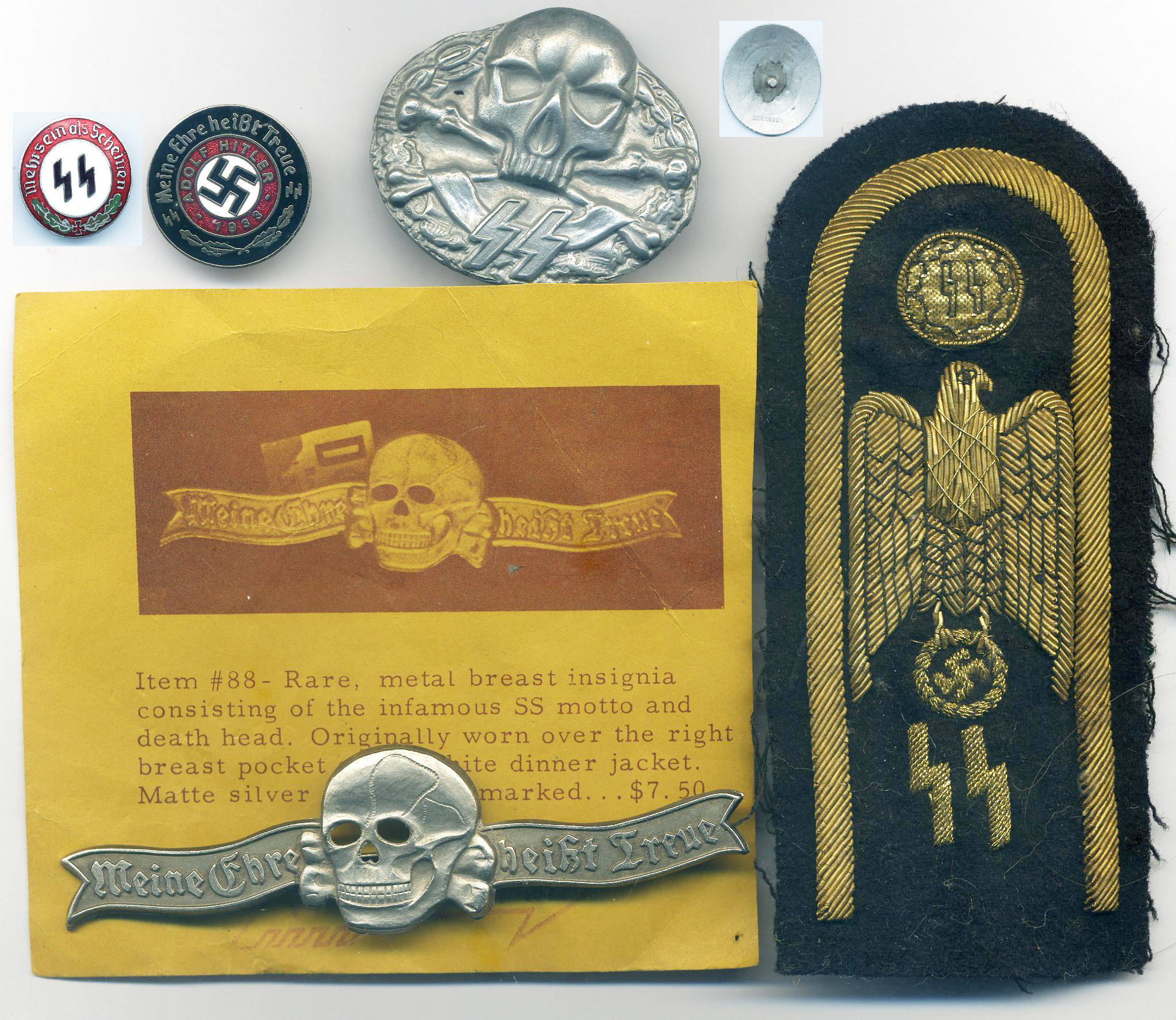 German copies of badges including SS Insignia and fantasy badges