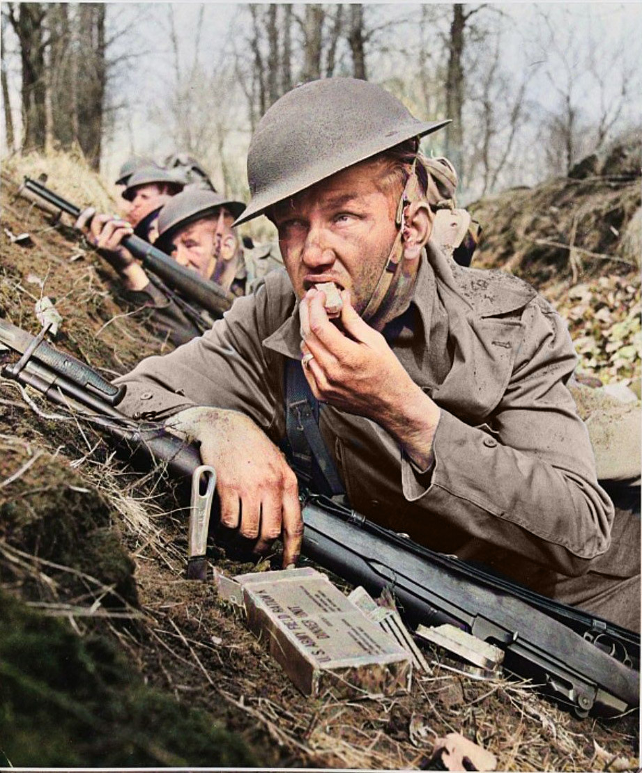 Soldier eating portable rations