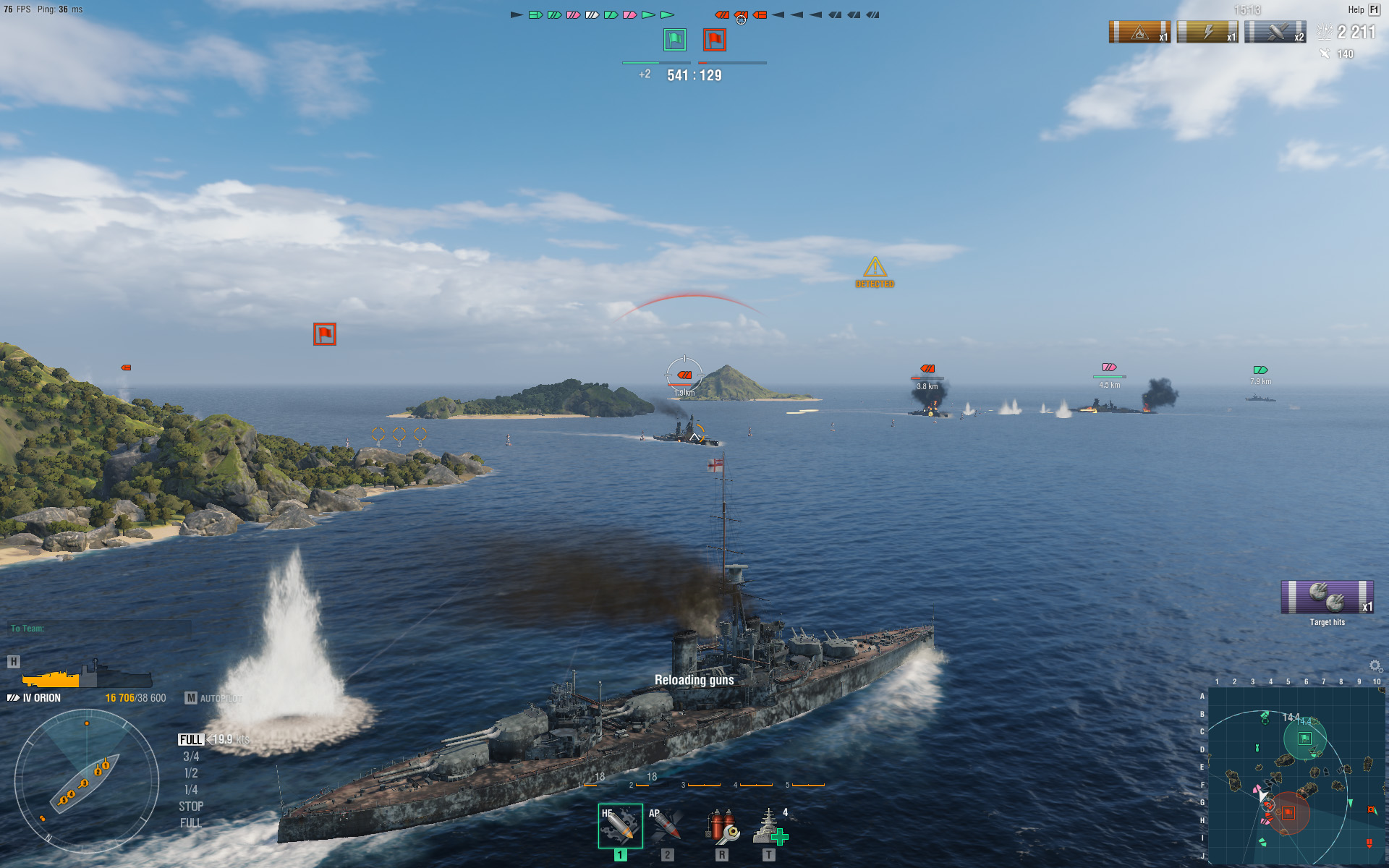 World of Warships naval action