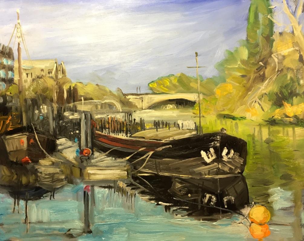 River barge near Kew Bridge on the Thames, oil on 40x30 board.