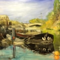 River barge near Kew Bridge on the Thames, oil on 40x30 board.