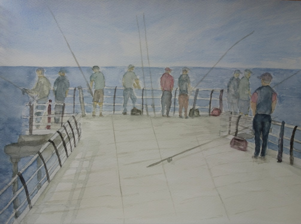 Fishing off Saltburn Pier