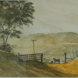 """ At the farm gate - on the farm""  in watercolour."