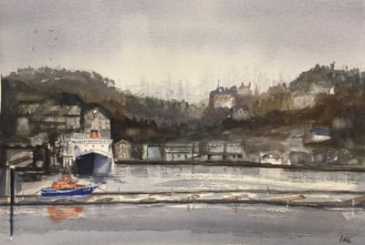 Oban harbour on a grey January morning