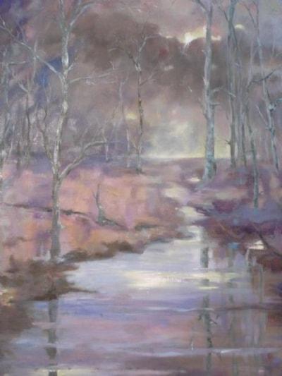Birch, water and glowing sun