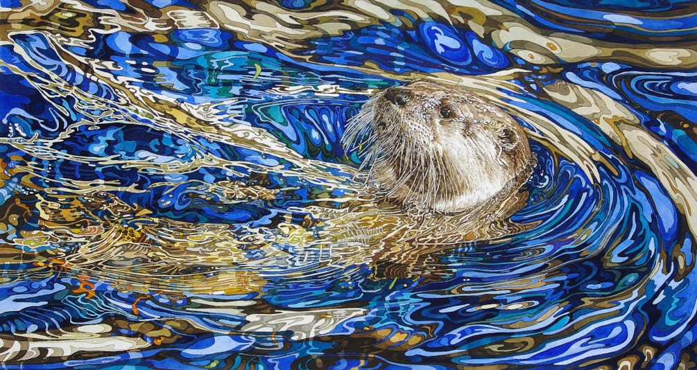 Otter in sapphire and blue water