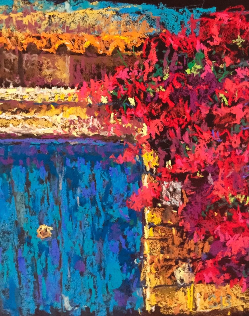'Blue Door with Bougainvillea'
