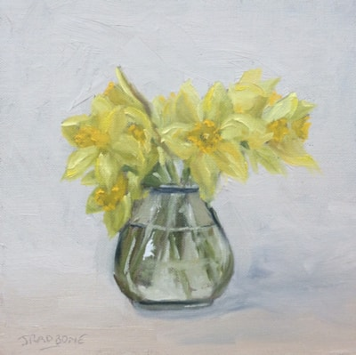 Daffodils and Glass vase