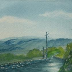 "Long wet road. watercolour 11x15"""