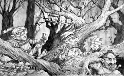 Mirkwood.  (A3 sketchbook-pen and wash).