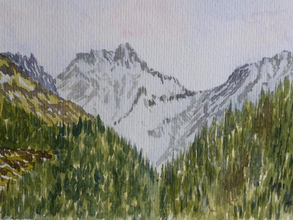 """Kaltenberg mountain Austria. watercolour 8.5x5.5"""" En plein air"""