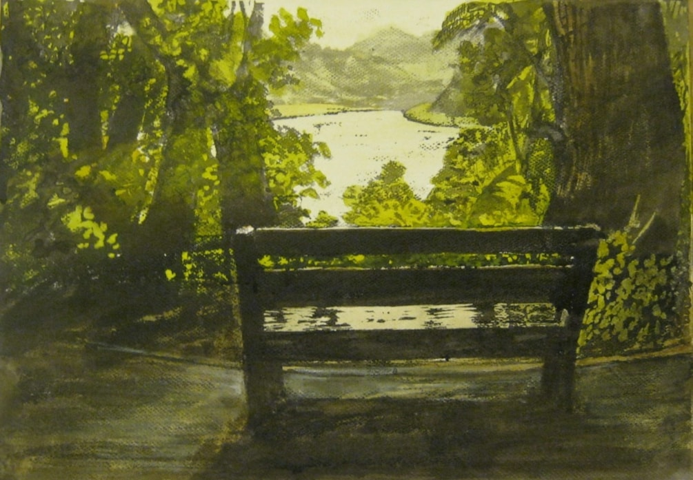 """A wet seat , but a stunning view"" mixed media ink technique."