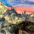 Sketches of Athens, conte and watercolour