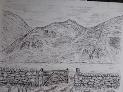 "Across to Crummock Water. pen and Ink 10x7"" En plein air"