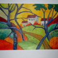 Kandinsky style of a painting by Cezanne