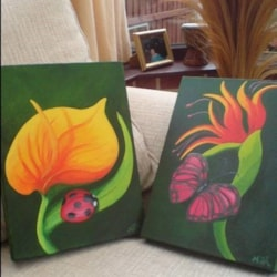 Ladybird with Cala Lily & Tropical Butterly with Bird of Paradise