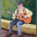 Guitar Man - Pastel 30cm x 40 cm