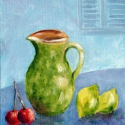 Tuscany Jug With Fruit.  Oil painting
