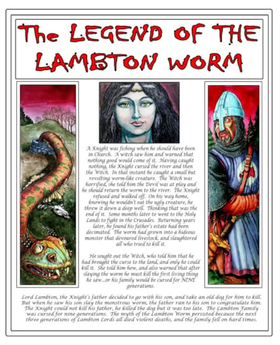 The Legend of the Lambton Worm.  (Mixed media).