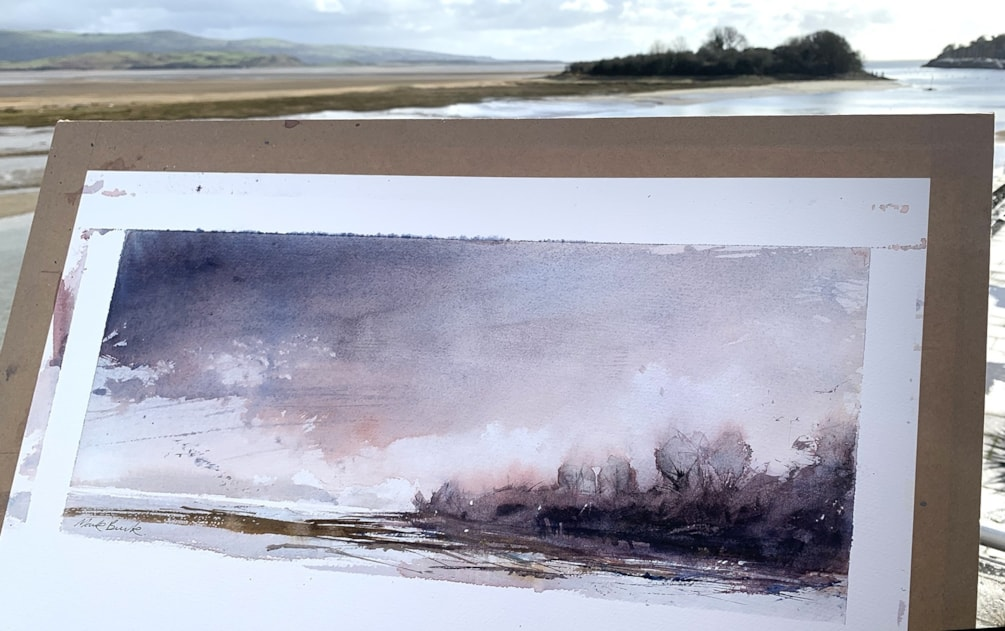 Plein air watercolour of Glaslyn Estuary
