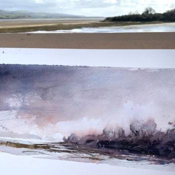 Plein air watercolour of Glaslyn Estuary