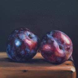 Two Plums on Wood