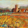 Sandon Church - Mixed Media.